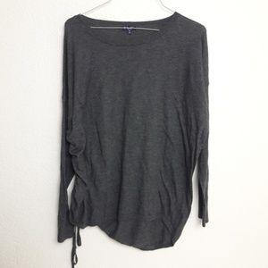 Splendid Side Tie Ruched Sweater Cashmere blend